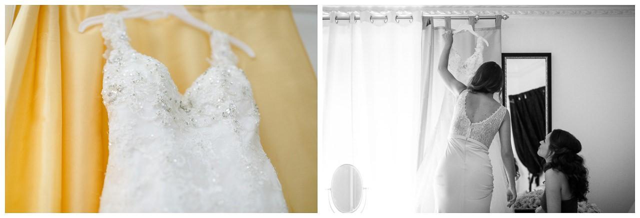 Die Trauzeugin holt das Brautkleid für die Braut.