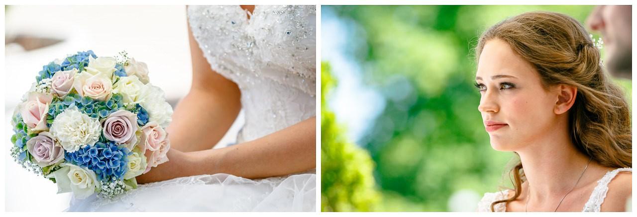 Nahaufnahme Brautstrauß blaue Hortensien und rosa. Rosen