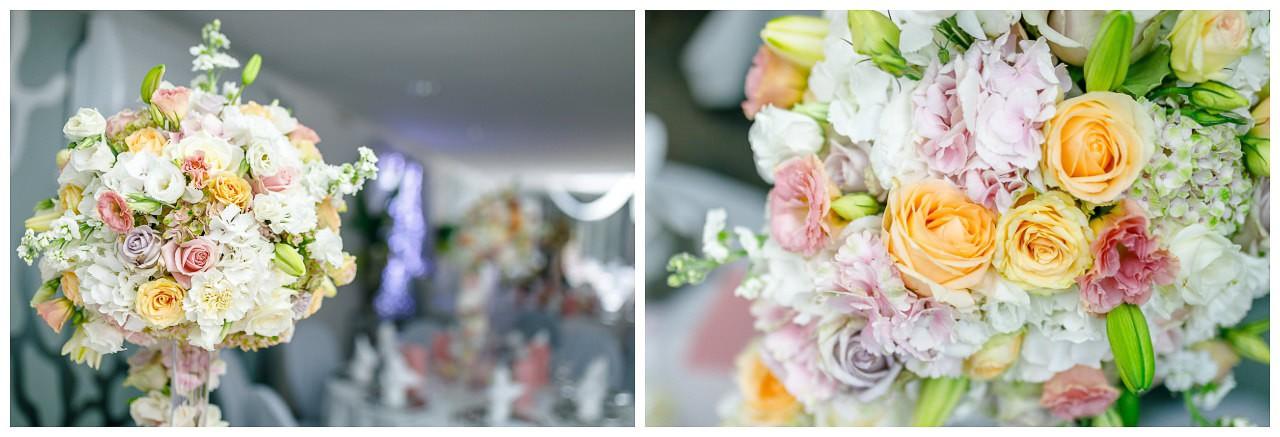 Tischdekoration Hochzeit pastell.