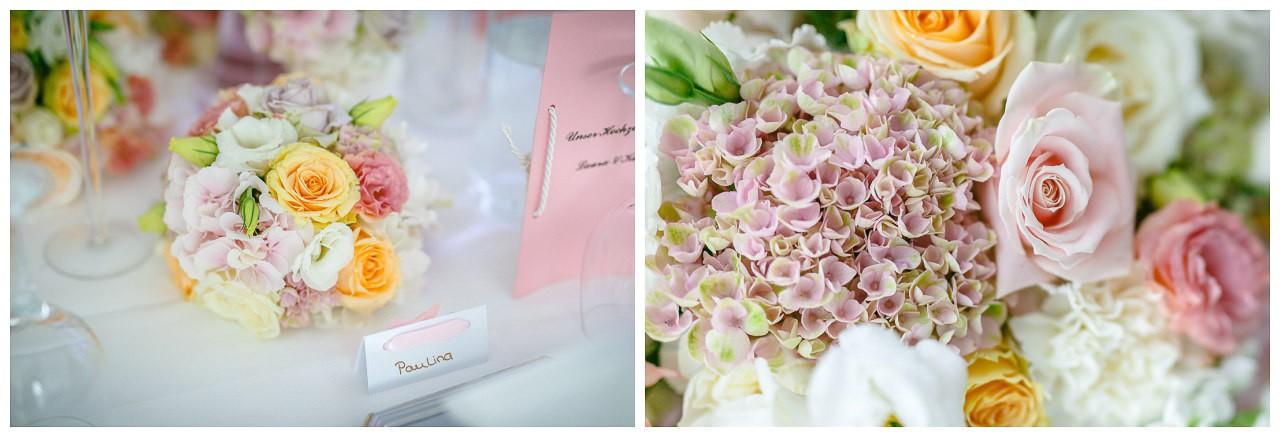 Tischdekoration Hochzeit rosa.