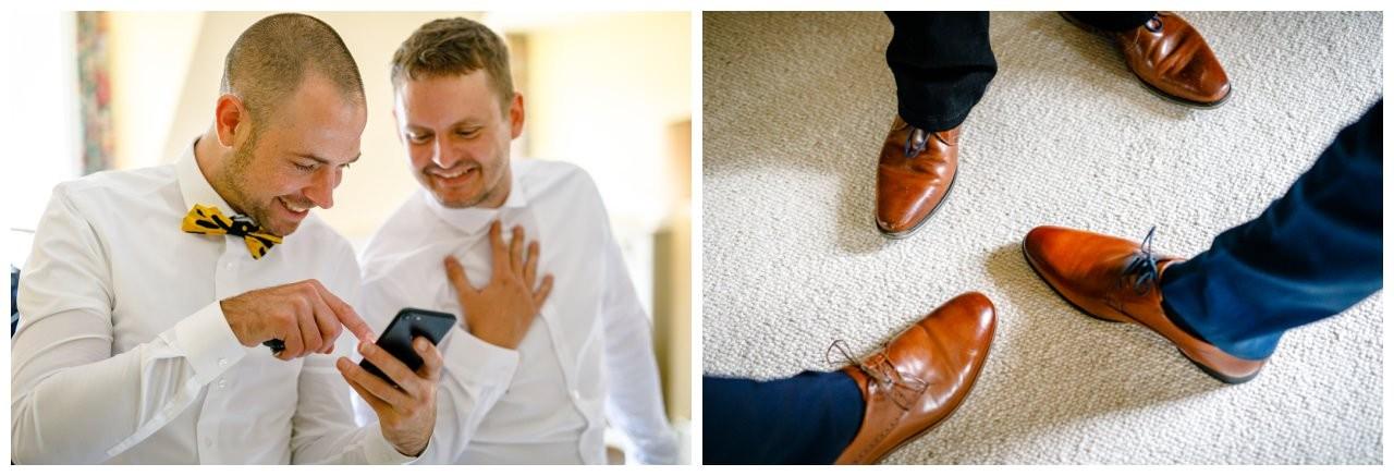 Schuhe Bräutigam und Trauzeugen.