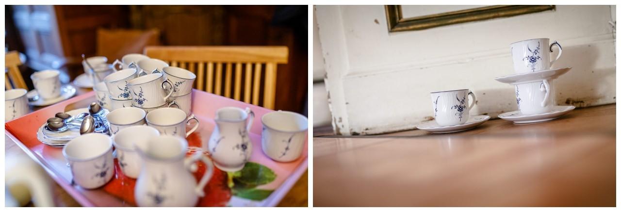 Kaffe und Teetassen Hochzeit Schloss Hackhausen.