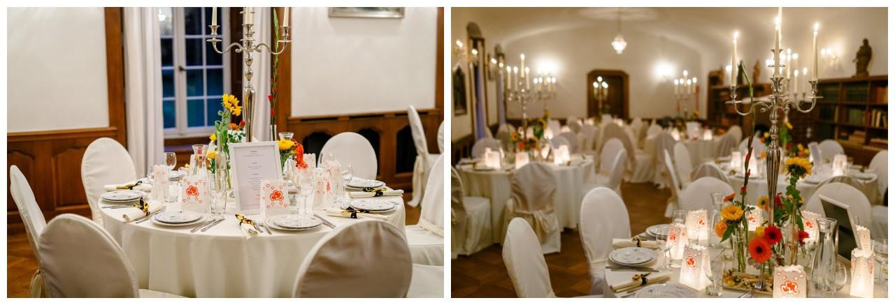 Hochzeitdekoration weiß rot gelb.