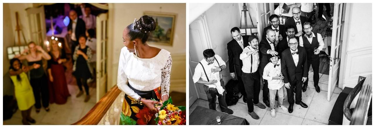 Brautstraußwurf auf der Hochzeitsfeier.