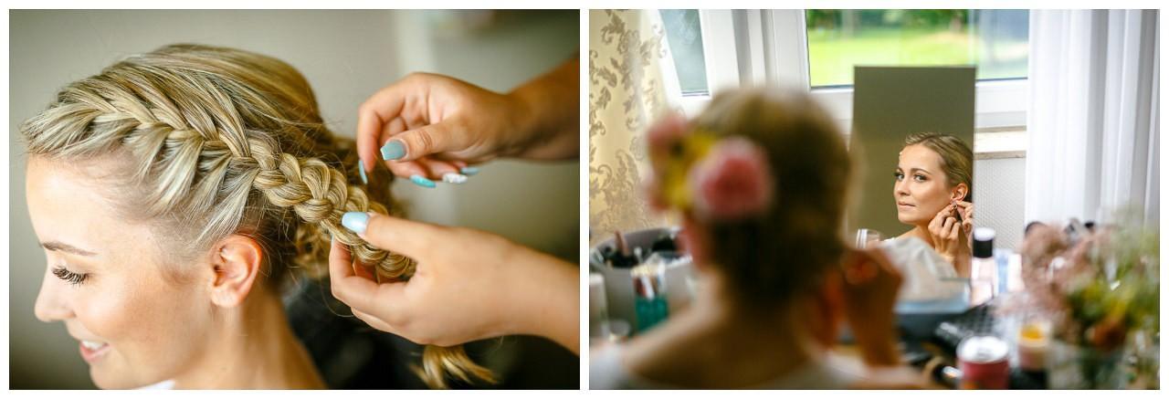 Getting Ready der Braut, das Brautstyling wird von der Stylistin gemacht.