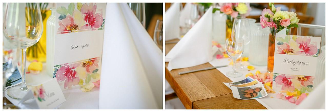 Hochzeitsdekoration Tische.
