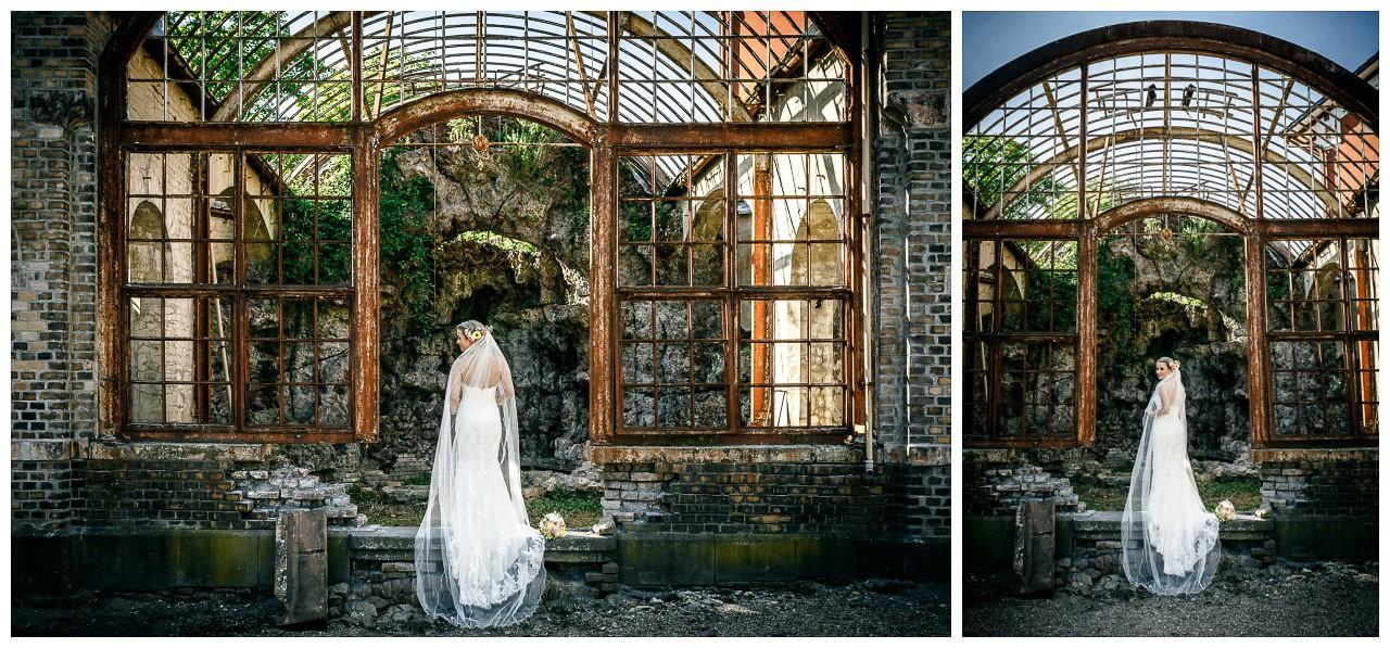 Brautshooting an der Villa Au in Velbert in einem alten Gewächshaus.