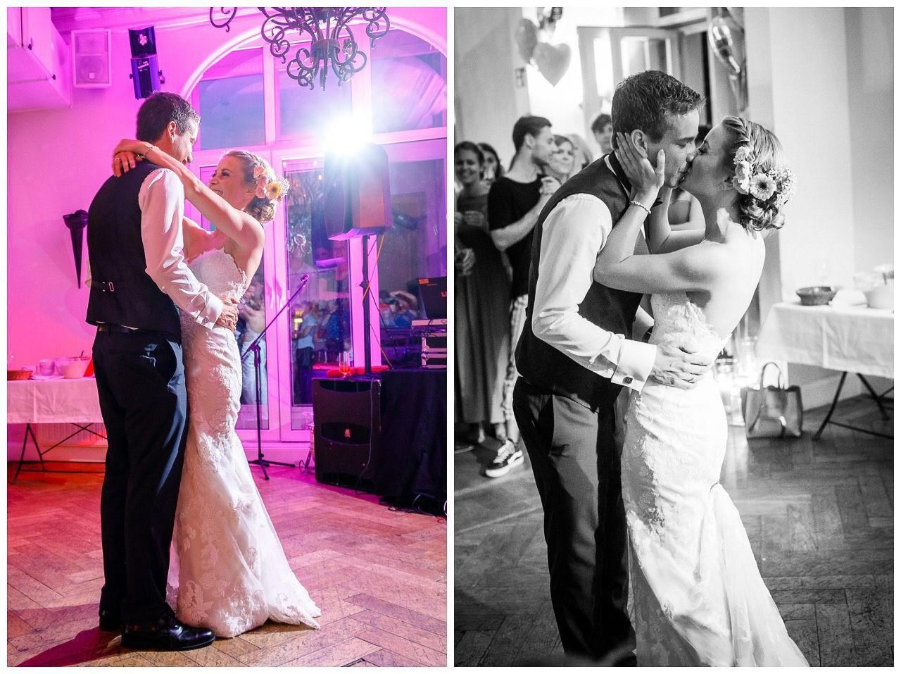 Hochzeitstanz, das Brautpaar tanzt den ersten Tanz.