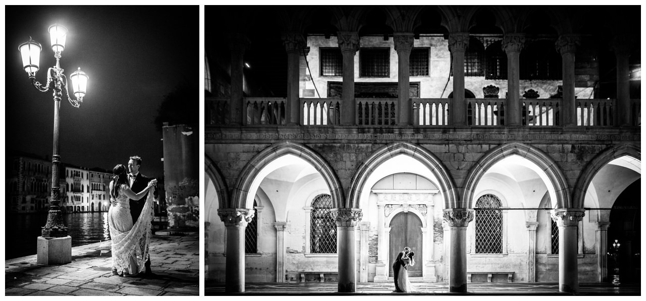 After Wedding Shooting in Venedig, das Brautpaar tanzt auf dem Markusplatz