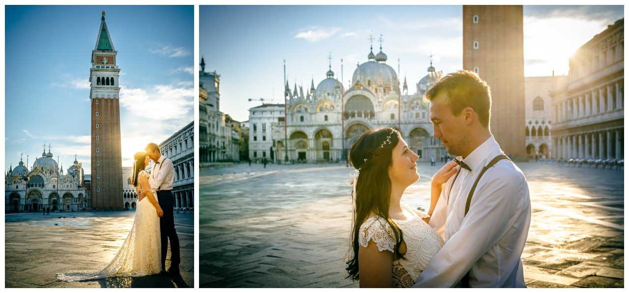 After Wedding Shooting in Venedig auf dem Marcusplatz