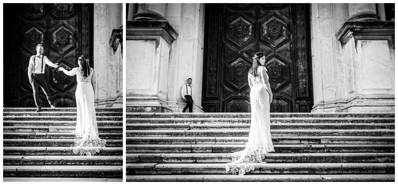 After Wedding Shooting in Venedig, die Braut trägt ein Viktoria Rüsche Kleid