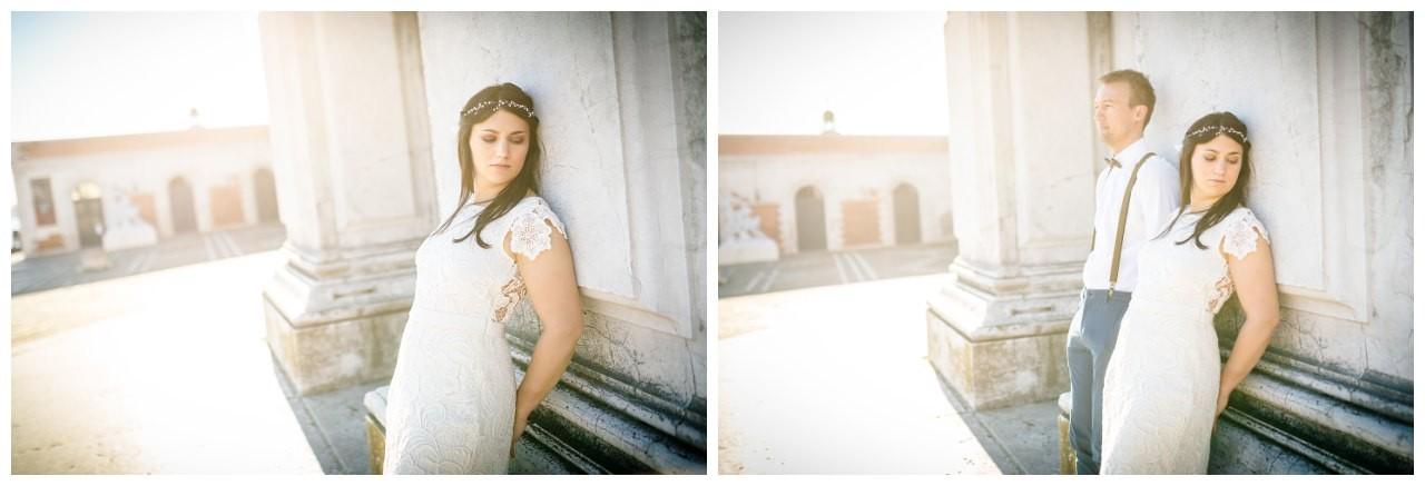 After Wedding Shooting in venedig die Braut trägt ein Victoria Rüsche Kleid und ein LaChia Headpiece