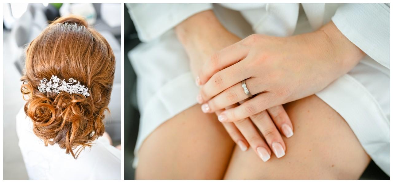 Hochzeitsfotograf Solingen die Braut schminkt sich vor der freien Trauung in der Wipperaue
