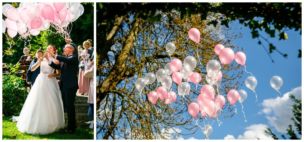Luftballons steigen lassen zur Hochzeit bei der freien Trauung in Solingen