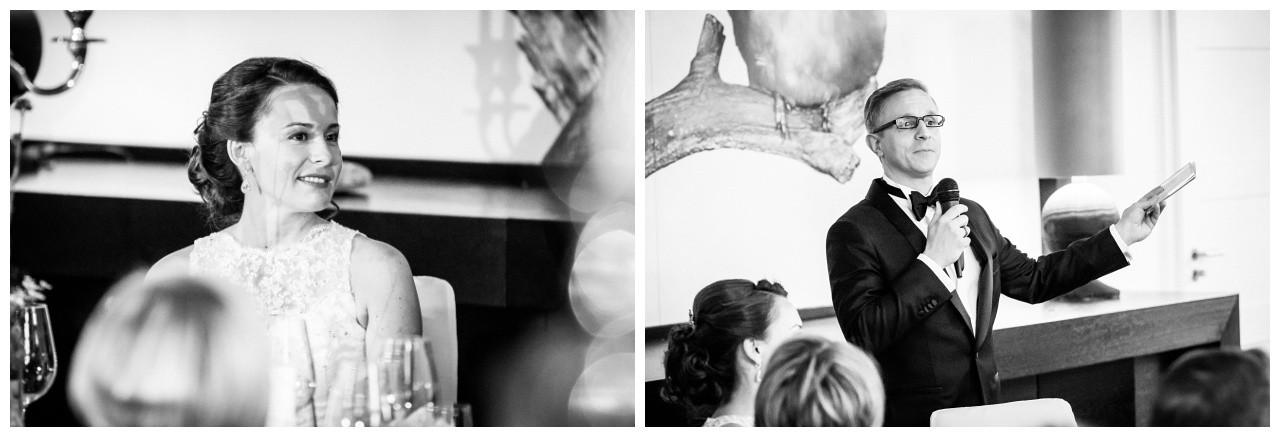 Der Bräutigam hält eine Rede bei der Hochzeitsfeier in der Wipperaue