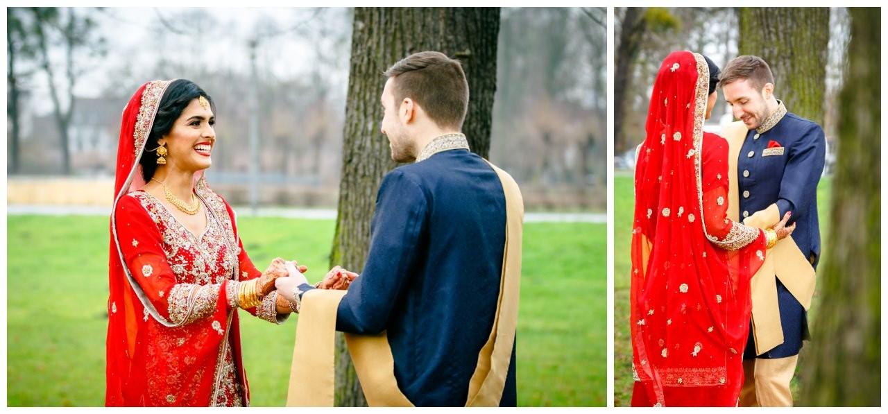 Pakistanische Hochzeit in Köln first Look im Schlosspark Brühl