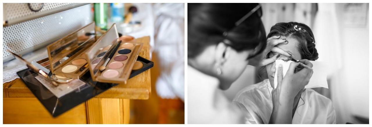 Die Braut bekommt ihr Make Up gemacht bei der Hochzeit am Chiemsee