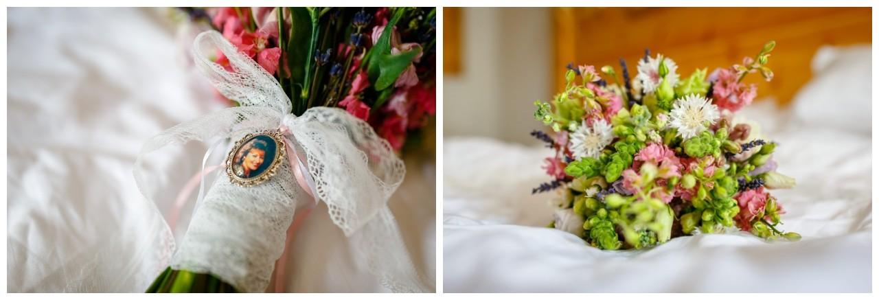 Brautstrauß mit Memorial nbei der Hochzeit am Chiemsee
