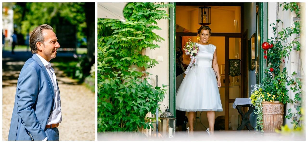 First Look am Chiemsee, Braut und Bräutigam sehen sich zum ersten Mal auf der Fraueninsel