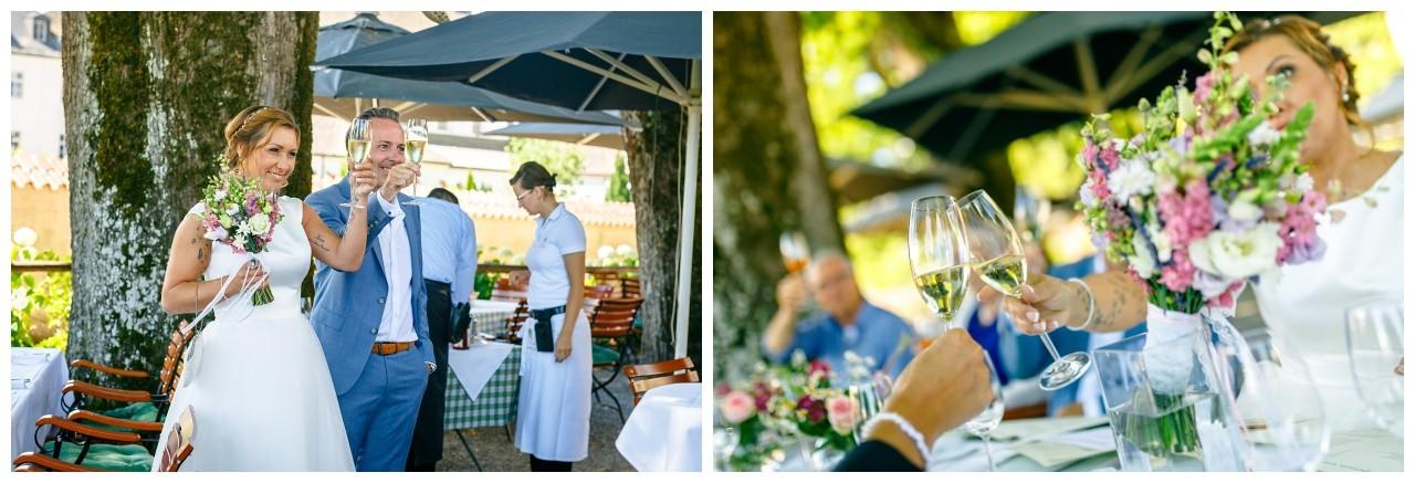 Sektempfang bei der Hochzeit auf dem Chiemsee