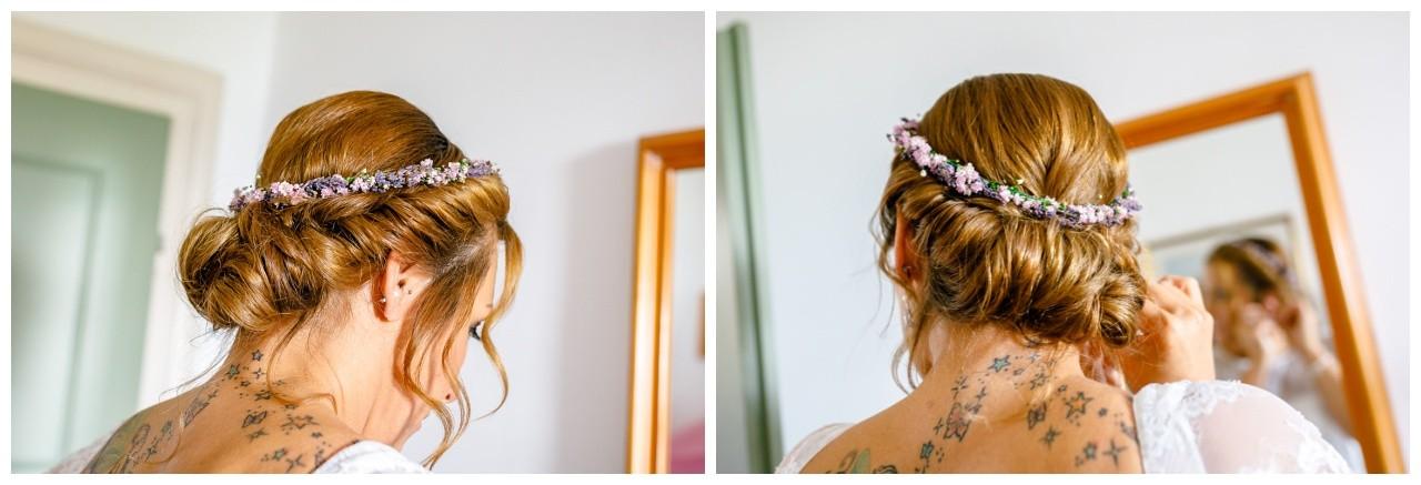 Blumenkranz aus Lavendel für die Brautfrisur am Chiemsee