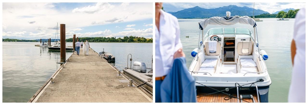 Das Brautpaar läuft zu einem Boot auf dem Chiemsee