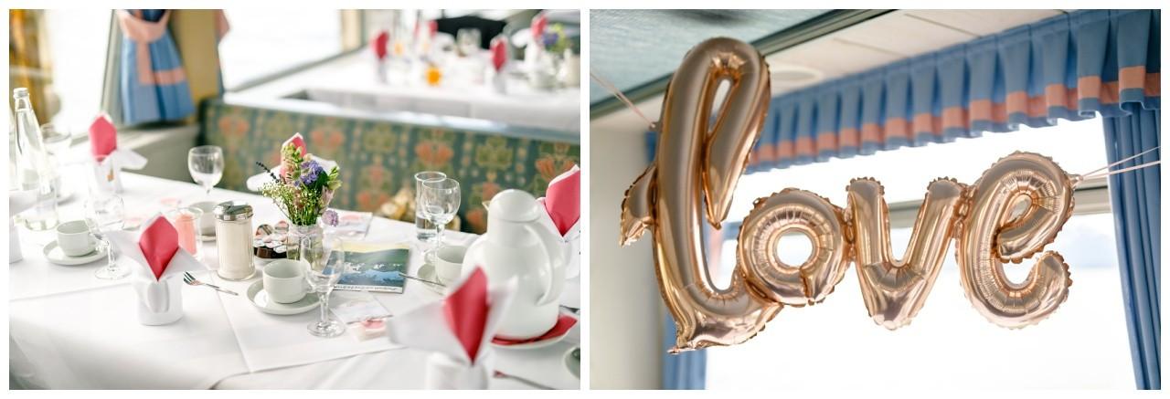 Tischdekoration auf dem Hochzeitsschiff Chiemsee