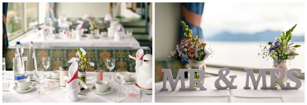 Tischdekoration Hochzeit auf dem Schiff am Chiemsee