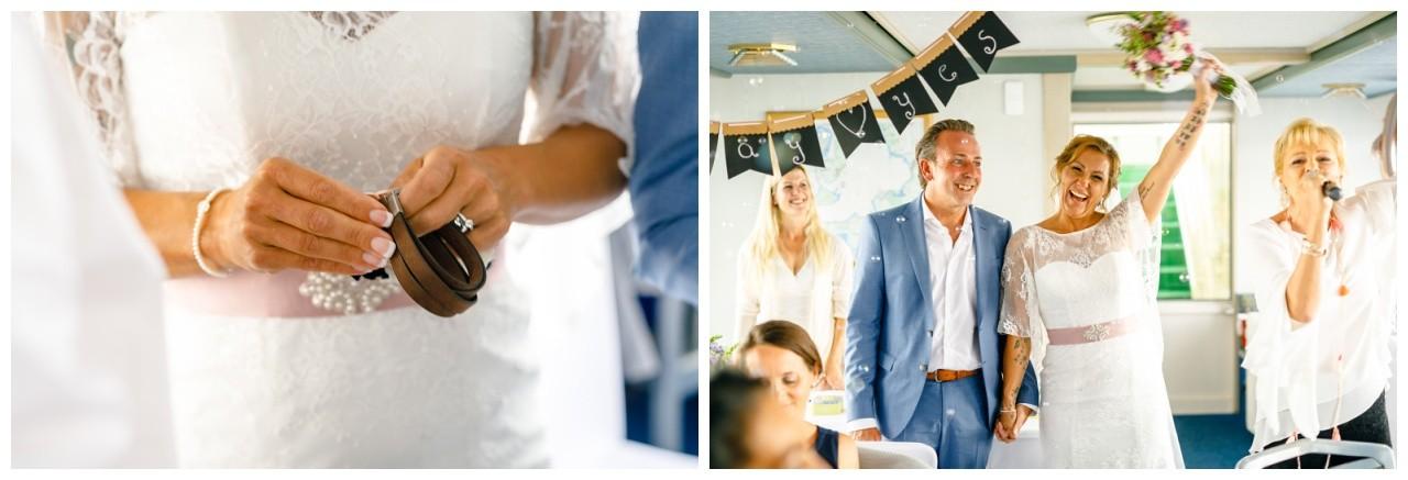 Freie Trauung auf dem Chiemsee, Braut und Bräutigam feiern