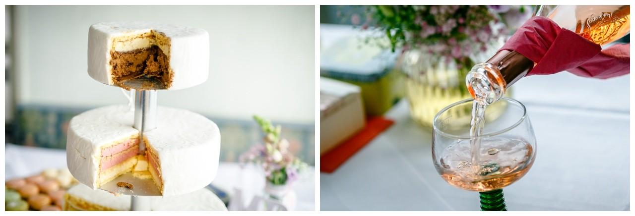Hochzeitstorte beim Sektempfang bei der Hochzeit am Chiemsee