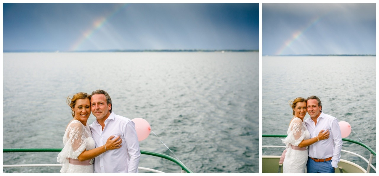 Regenbogen bei der Hochzeit auf dem Chiemsee