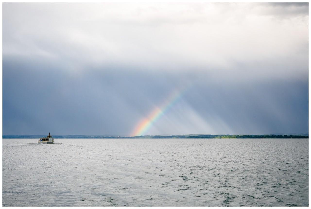 Regenbogen über dem Chiemsee bei der Hochzeit am Chiemsee