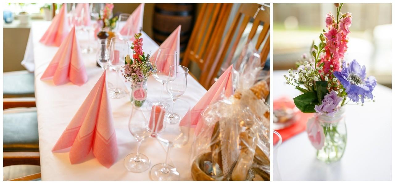 Blumendekoration bei der Hochzeit am Chiemsee