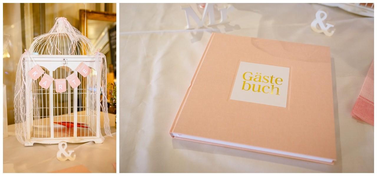 Hochzeitsdekoration und Gästebuch bei der Hochzeit auf dem Chiemsee
