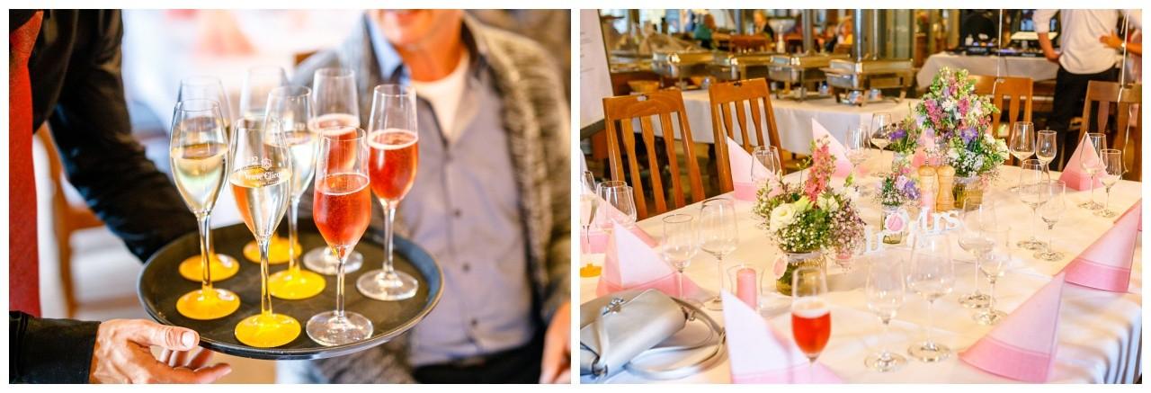 Tischdekoration zur Hochzeit auf dem Chiemsee
