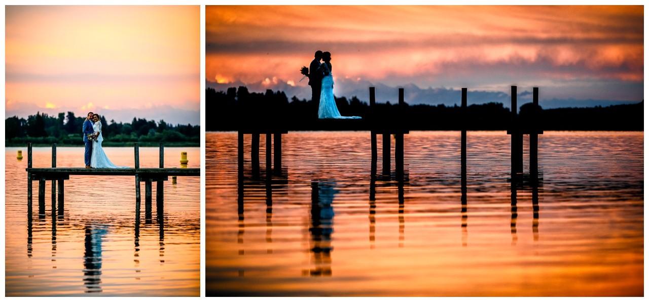 Hochzeitsfotos im Sonnenuntergang am Chiemsee