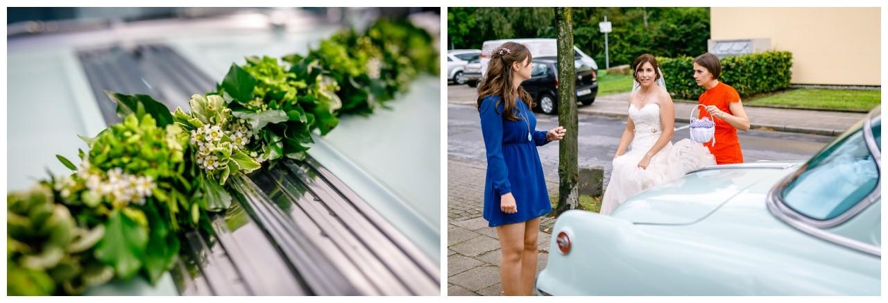 Hochzeit im Pott die Braut kommt an der Kirche in Gelsenkirchen an