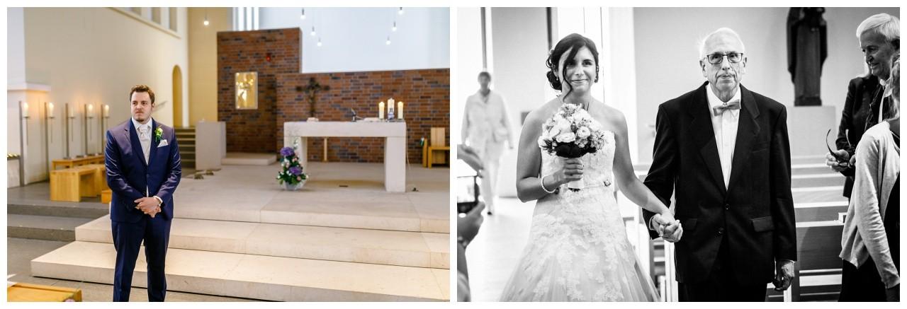 Kirchliche Trauung im Ruhrgebiet der Bräutigam wartet am Altar auf seine Braut