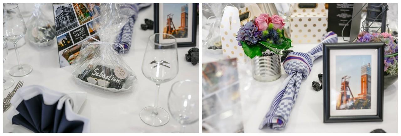 Hochzeitsdekoration schwarz weiß Ruhrgebiet