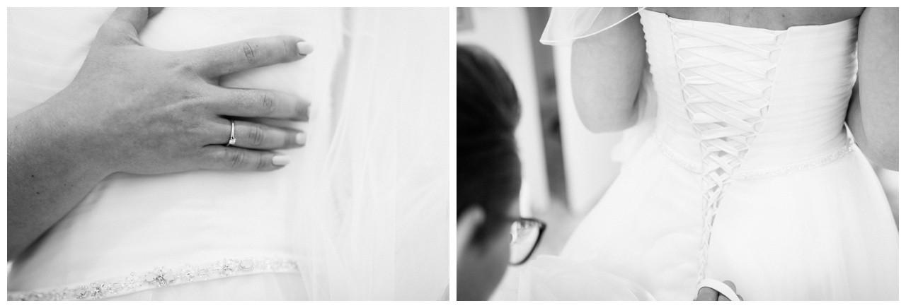 Brautkleidschnürung von hinten