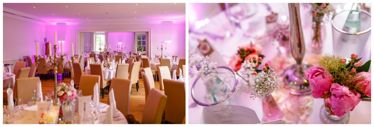 Hochzeitsdekoration rosa in der Elfrather Mühle in Krefeld