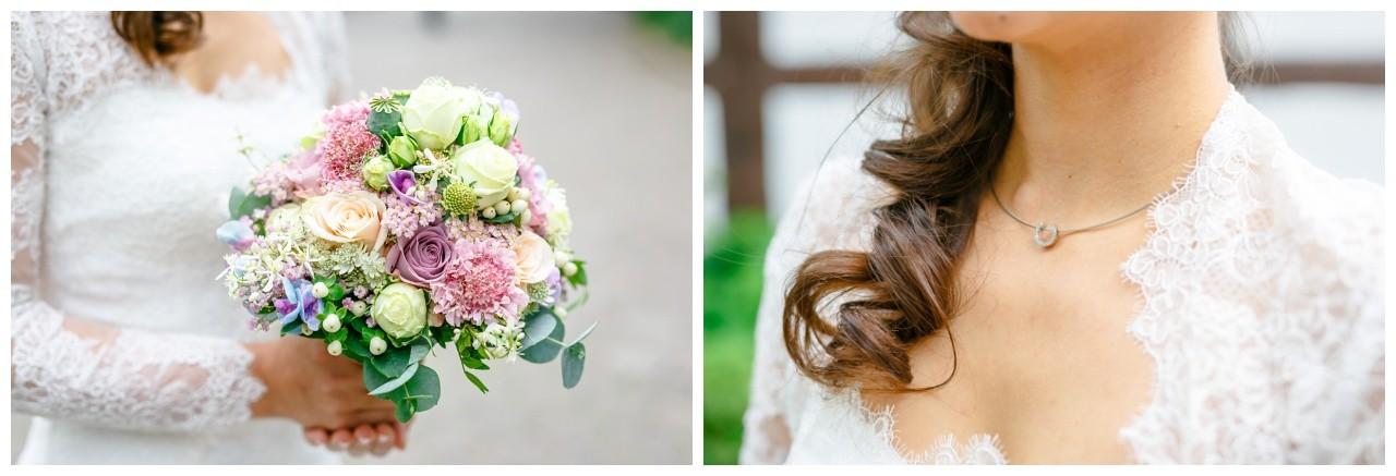 Brautstrauß rosa lila und Brautschmuck Hochzeit