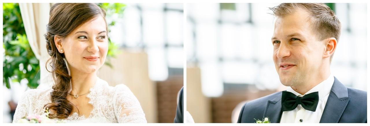 Portraits von Braut und Bräutigam bei der freien Trauung in Dortmund