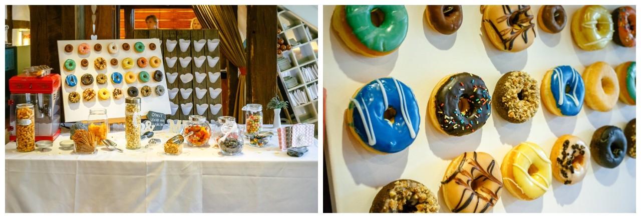 Donut Wall und Candy Bar bunt bei der Hochzeit in Dortmund