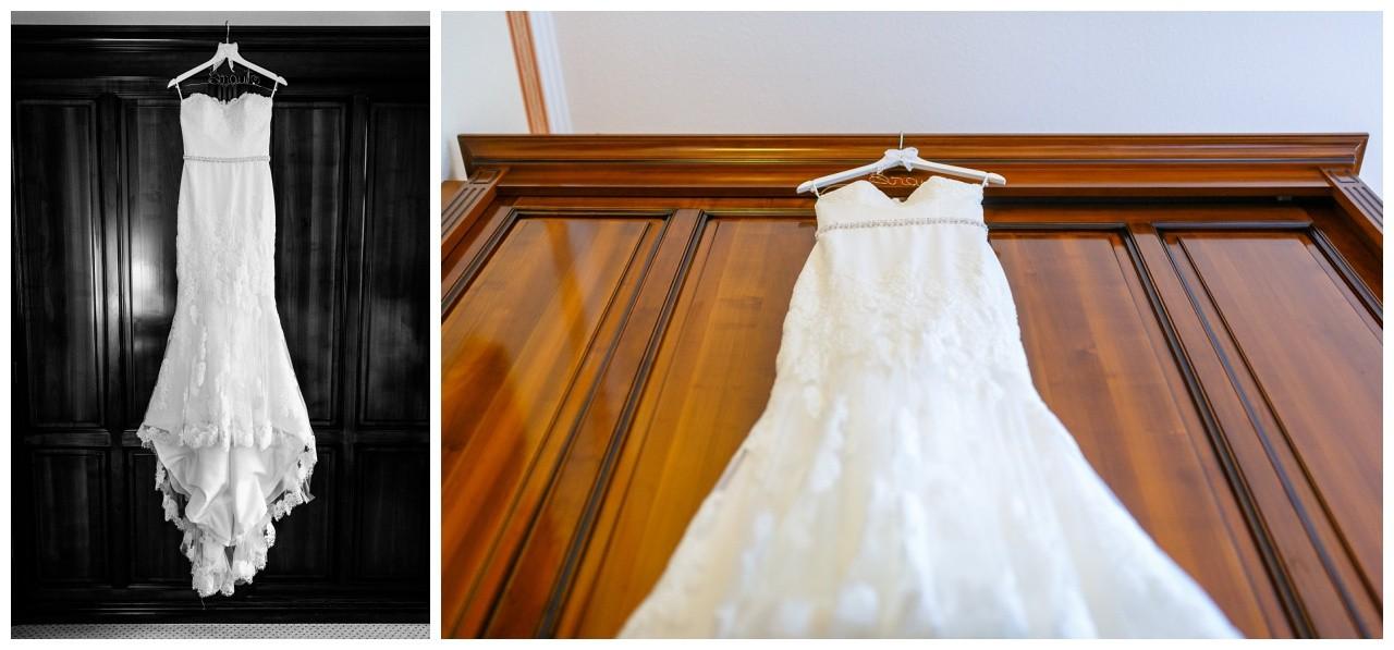 Vor der Hochzeit in Recklinghausen hängt das Kleid im Hotel Engelsburg am Schrank