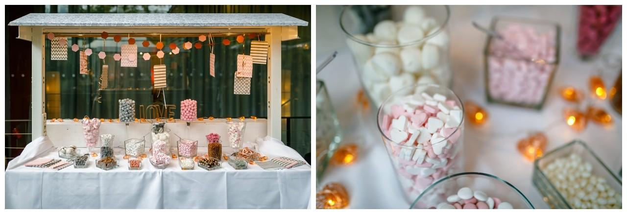 Candybar Indpiration bei der Hochzeit im Subergs Recklinghausen rosa rosegold weiß