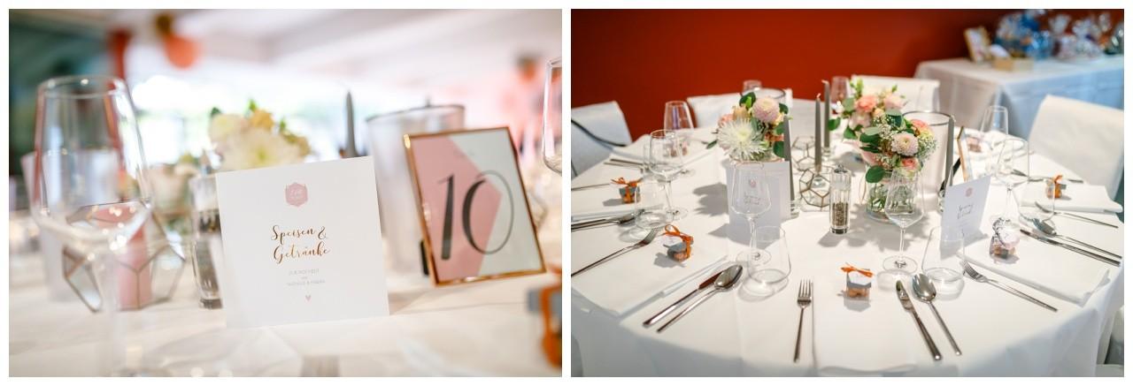 Tischdekoration bei der Hochzeit im Ruhrfestspielhaus in Recklinghausen