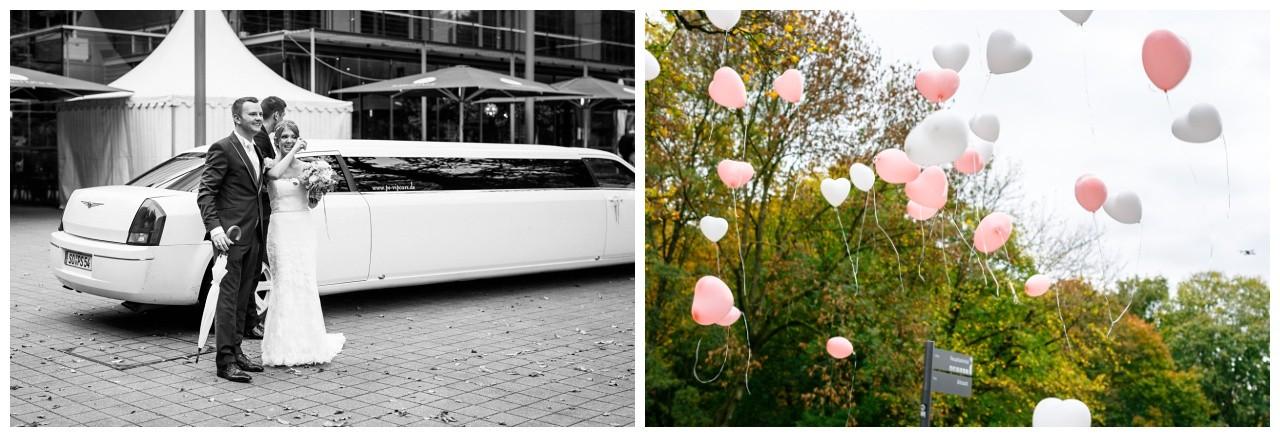 Ballons steigen lassen bei der Hochzeit im Ruhrfestspielhaus Recklinghausen