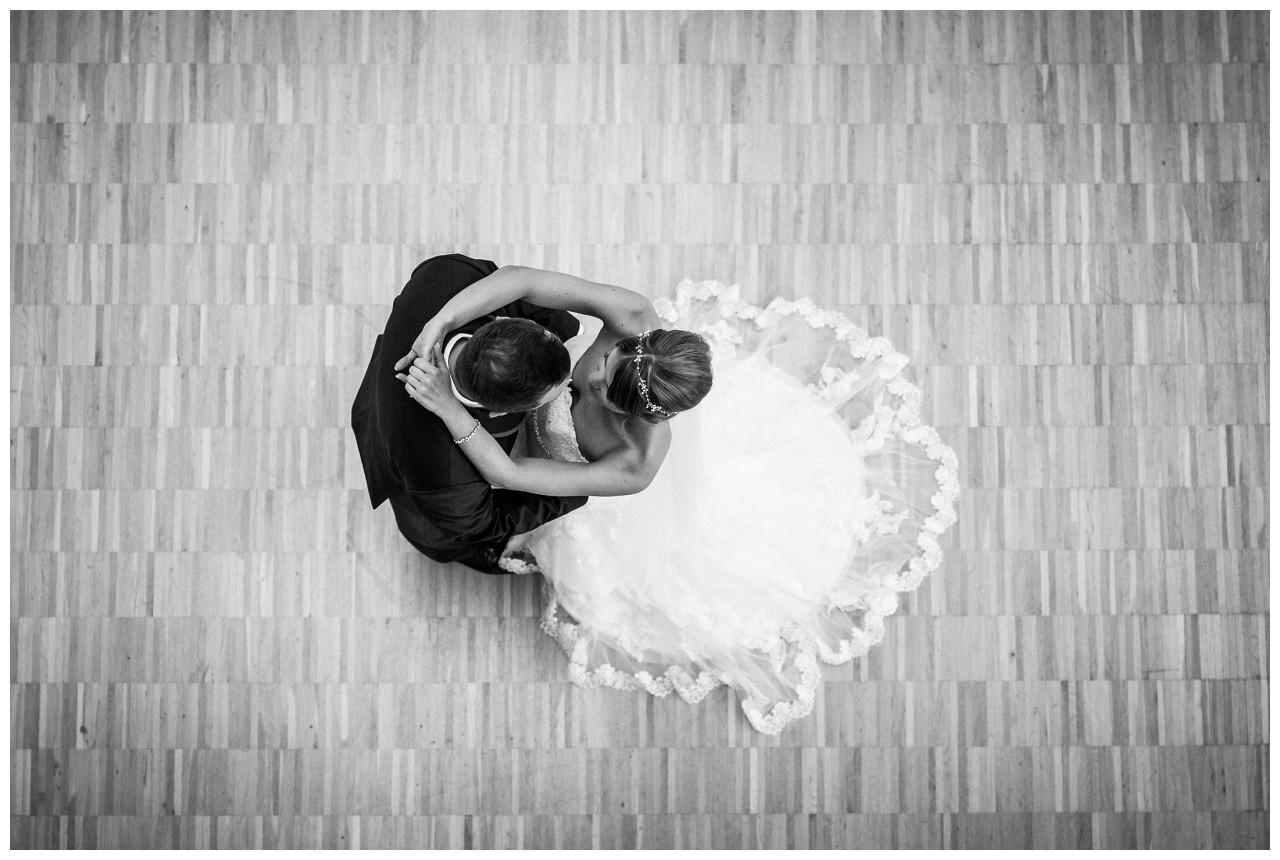Das Brautpaar von oben im Ruhrfestspielhaus Recklinghausen