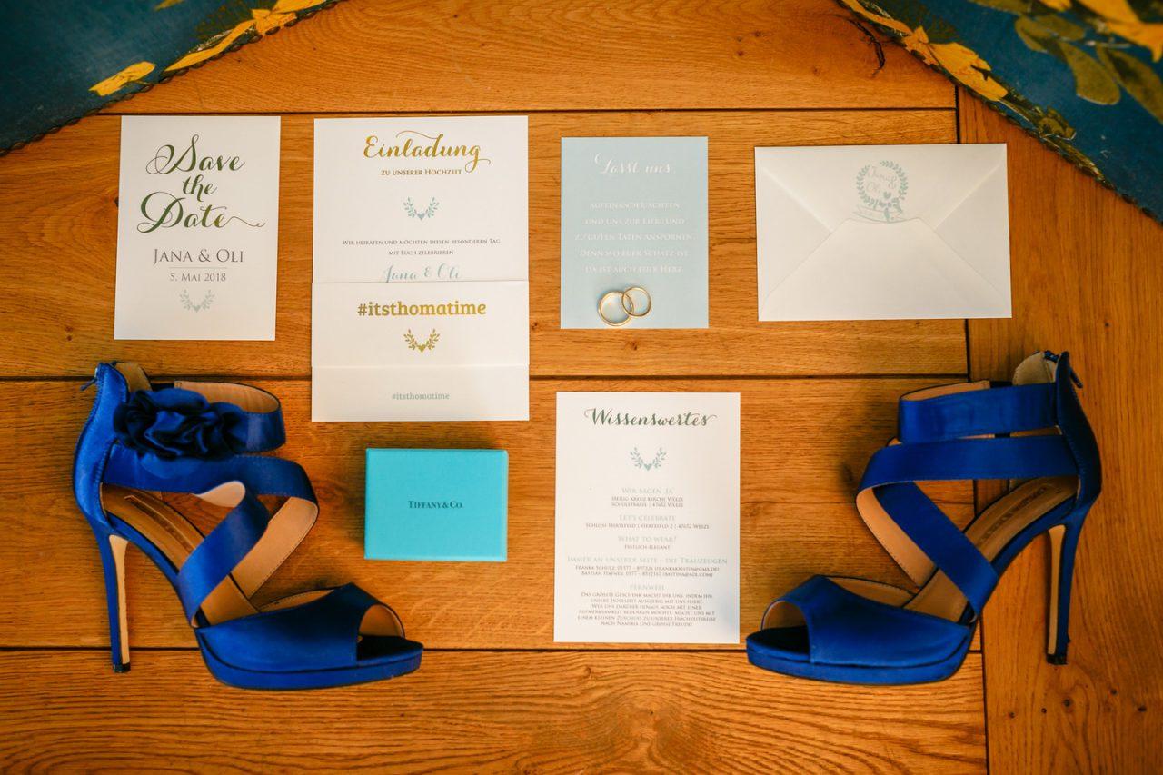 Einladungskarte zur Hochzeit auf Schloss Hertefeld